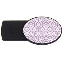 White On Lilac Damask 4gb Usb Flash Drive (oval)