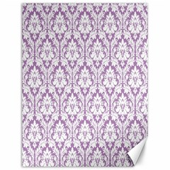 White On Lilac Damask Canvas 12  X 16  (unframed) by Zandiepants