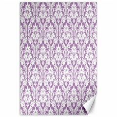 White On Lilac Damask Canvas 12  X 18  (unframed) by Zandiepants