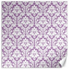 White On Lilac Damask Canvas 16  X 16  (unframed) by Zandiepants