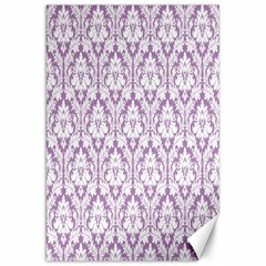 White On Lilac Damask Canvas 20  X 30  (unframed) by Zandiepants