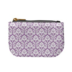 Lilac Damask Pattern Mini Coin Purse