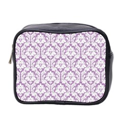 White On Lilac Damask Mini Travel Toiletry Bag (two Sides) by Zandiepants
