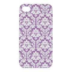 White On Lilac Damask Apple Iphone 4/4s Premium Hardshell Case by Zandiepants
