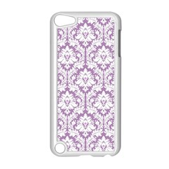 White On Lilac Damask Apple Ipod Touch 5 Case (white)