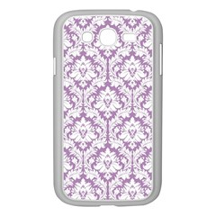 White On Lilac Damask Samsung Galaxy Grand Duos I9082 Case (white)