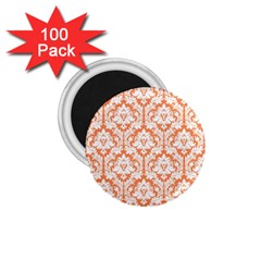 White On Orange Damask 1 75  Button Magnet (100 Pack) by Zandiepants