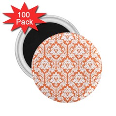 White On Orange Damask 2 25  Button Magnet (100 Pack) by Zandiepants