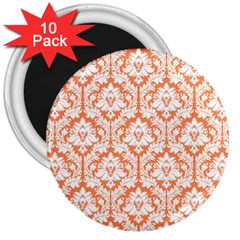 White On Orange Damask 3  Button Magnet (10 Pack) by Zandiepants