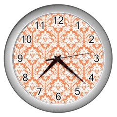 White On Orange Damask Wall Clock (silver) by Zandiepants