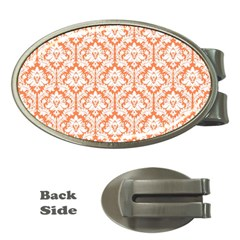 White On Orange Damask Money Clip (oval) by Zandiepants
