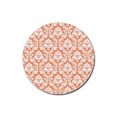 White On Orange Damask Drink Coasters 4 Pack (round) by Zandiepants