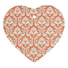 White On Orange Damask Heart Ornament (two Sides)