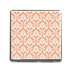 White On Orange Damask Memory Card Reader With Storage (square) by Zandiepants