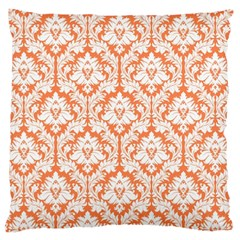 Nectarine Orange Damask Pattern Large Cushion Case (one Side) by Zandiepants