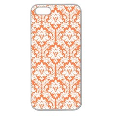 White On Orange Damask Apple Seamless Iphone 5 Case (clear) by Zandiepants