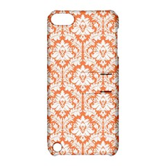 White On Orange Damask Apple Ipod Touch 5 Hardshell Case With Stand by Zandiepants