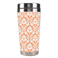 White On Orange Damask Stainless Steel Travel Tumbler by Zandiepants