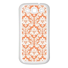 White On Orange Damask Samsung Galaxy S3 Back Case (white) by Zandiepants