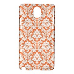 White On Orange Damask Samsung Galaxy Note 3 N9005 Hardshell Case by Zandiepants