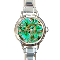 Spring Leaves, Abstract Crystal Flower Garden Round Italian Charm Watch by DianeClancy