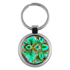 Spring Leaves, Abstract Crystal Flower Garden Key Chain (round) by DianeClancy
