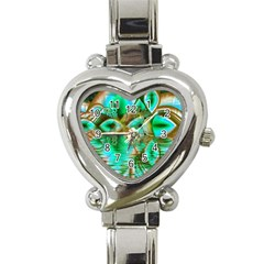 Spring Leaves, Abstract Crystal Flower Garden Heart Italian Charm Watch  by DianeClancy