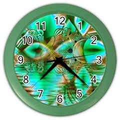 Spring Leaves, Abstract Crystal Flower Garden Wall Clock (color) by DianeClancy