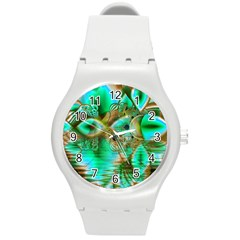 Spring Leaves, Abstract Crystal Flower Garden Plastic Sport Watch (medium) by DianeClancy