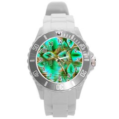 Spring Leaves, Abstract Crystal Flower Garden Plastic Sport Watch (large) by DianeClancy