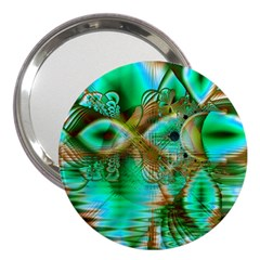 Spring Leaves, Abstract Crystal Flower Garden 3  Handbag Mirror by DianeClancy