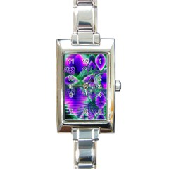 Evening Crystal Primrose, Abstract Night Flowers Rectangular Italian Charm Watch by DianeClancy