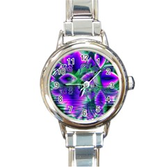 Evening Crystal Primrose, Abstract Night Flowers Round Italian Charm Watch by DianeClancy