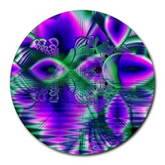Evening Crystal Primrose, Abstract Night Flowers 8  Mouse Pad (round) by DianeClancy