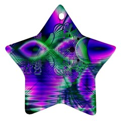 Evening Crystal Primrose, Abstract Night Flowers Star Ornament
