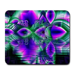 Evening Crystal Primrose, Abstract Night Flowers Large Mouse Pad (rectangle)