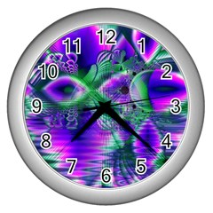 Evening Crystal Primrose, Abstract Night Flowers Wall Clock (silver)