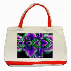 Evening Crystal Primrose, Abstract Night Flowers Classic Tote Bag (red) by DianeClancy