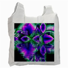 Evening Crystal Primrose, Abstract Night Flowers White Reusable Bag (one Side) by DianeClancy