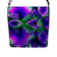 Evening Crystal Primrose, Abstract Night Flowers Flap Closure Messenger Bag (large) by DianeClancy