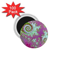 Raspberry Lime Surprise, Abstract Sea Garden  1 75  Button Magnet (100 Pack) by DianeClancy