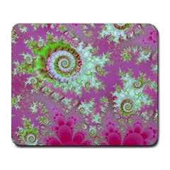 Raspberry Lime Surprise, Abstract Sea Garden  Large Mouse Pad (rectangle) by DianeClancy