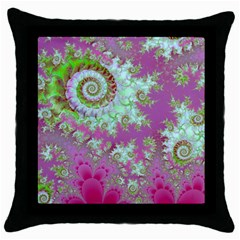 Raspberry Lime Surprise, Abstract Sea Garden  Black Throw Pillow Case by DianeClancy