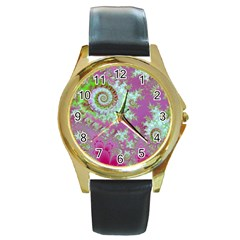 Raspberry Lime Surprise, Abstract Sea Garden  Round Leather Watch (gold Rim)  by DianeClancy