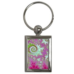 Raspberry Lime Surprise, Abstract Sea Garden  Key Chain (rectangle) by DianeClancy