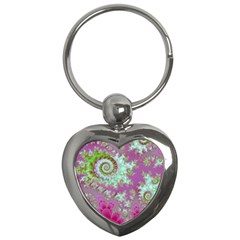 Raspberry Lime Surprise, Abstract Sea Garden  Key Chain (heart) by DianeClancy