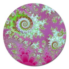 Raspberry Lime Surprise, Abstract Sea Garden  Magnet 5  (round) by DianeClancy