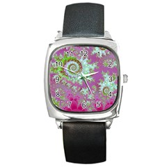 Raspberry Lime Surprise, Abstract Sea Garden  Square Leather Watch by DianeClancy