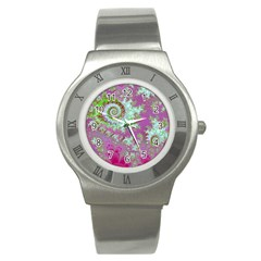 Raspberry Lime Surprise, Abstract Sea Garden  Stainless Steel Watch (slim) by DianeClancy