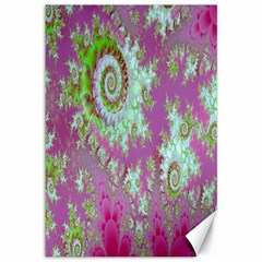 Raspberry Lime Surprise, Abstract Sea Garden  Canvas 12  X 18  (unframed)